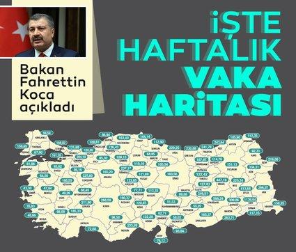 Son dakika: Bakan Fahrettin Koca paylaştı: İşte il il haftalık vaka haritası