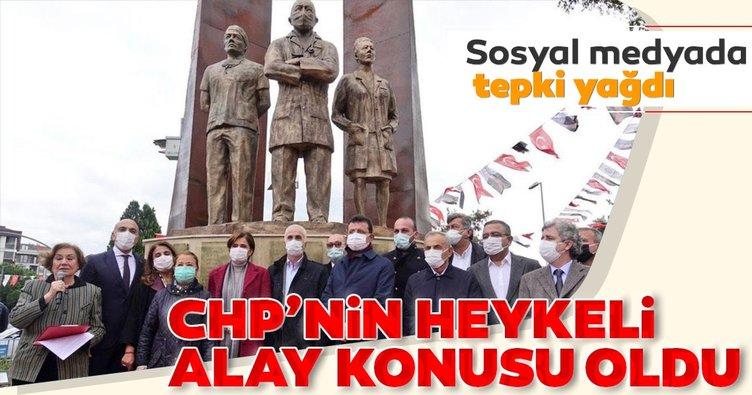 CHP'nin maskeli heykeli alay konusu oldu