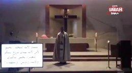 Beyrut'taki patlamada kilisede ayin yapan papazın kaçış anı kamerada | Video