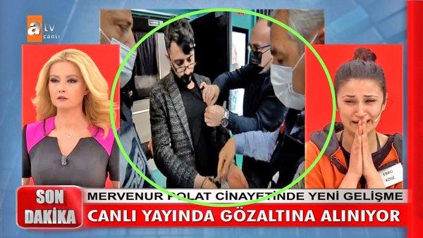 SON DAKİKA: Müge Anlı'da polis kelepçesi şoku! Mervenur Polat cinayeti katil zanlısını canlı yayında böyle götürdüler... | Video