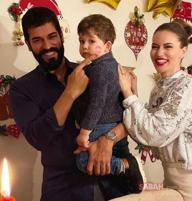 Güzel oyuncu Fahriye Evcen öpücüğü kondurdu... Fahriye Evcen ve Burak Özçivit'ten oğulları Karan ile yeni yıl paylaşımı!
