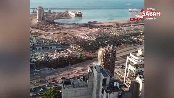 Beyrut'taki patlamanın yarattığı şok dalgasının kente etkisi dronla görüntülendi | Video