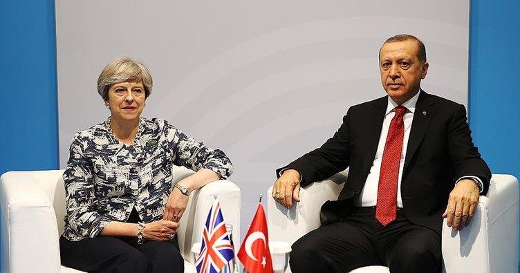 Son dakika... Cumhurbaşkanı Erdoğan, İngiltere Başbakanı May ile görüştü.