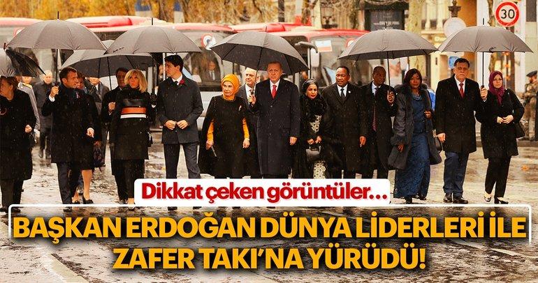 Cumhurbaşkanı Erdoğan Zafer Takı'na yürüdü
