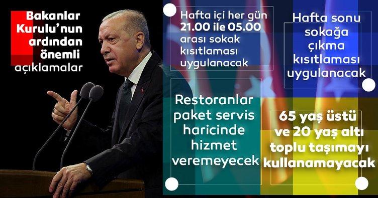 Son dakika haberi: Başkan Erdoğan Bakanlar Kurulu sonrası açıkladı! Hafta içi uygulanacak sokak kısıtlaması belli oldu