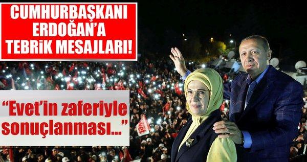 Cumhurbaşkanı Erdoğan'a tebrik mesajları