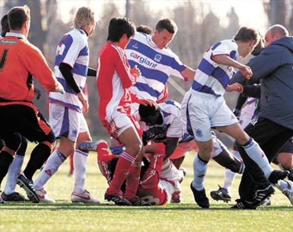 fighting in football match describe the scene Any misconceptions that you might have had that women's football is less aggressive than the men's game will be obliterated by these scenes at an encounter in bosnia-herzegovina.