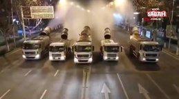 Çin'de Covid-2019 sokaklardaki koronavirüse karşı ilaçlama çalışmaları kameralara yansıdı | Video