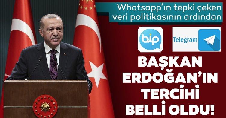 WhatsApp'ın tepki çeken veri politikasının ardından Başkan Erdoğan BİP ve Telegram'a katıldı
