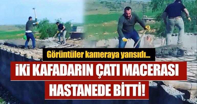 Diyarbakır'da iki kafadarın çatıdaki maceraları hastanede bitti...