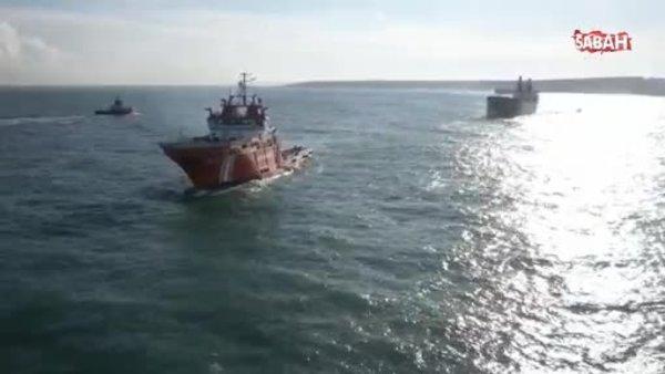 Riva açıklarındaki kuru yük gemisi kurtarıldı | Video