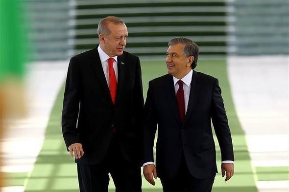 Cumhurbaşkanı Erdoğan Özbekistan'da böyle karşılandı