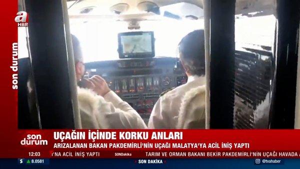 SON DAKİKA: Bakan Pakdemirli'nin uçağının içindeki korku dolu anlar kamerada! Acil iniş yaptı...
