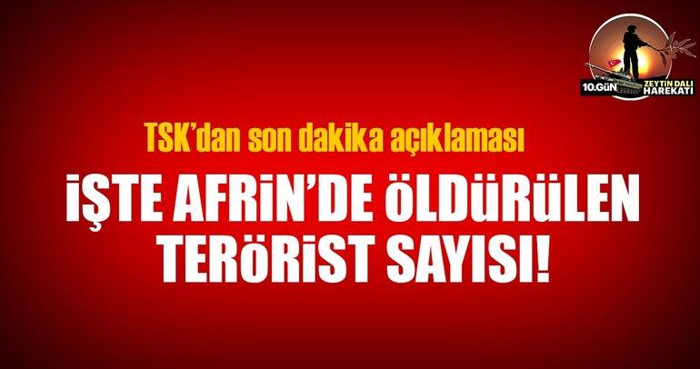 Son dakika: TSK: Afrin'de etkisiz hale getirilen terörist sayısı 597 oldu