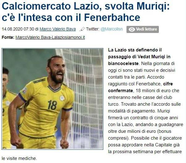 Vedat Muriqi'de işlem tamam! İşte Lazio'nun F.Bahçe'ye ödeyeceği bonservis bedeli