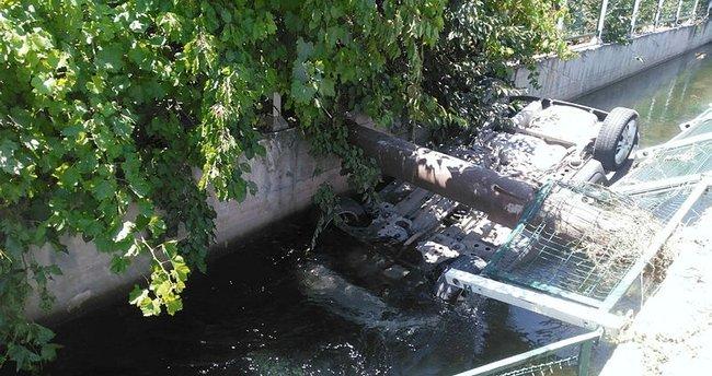 Derme sulama kanalına yine araç uçtu!
