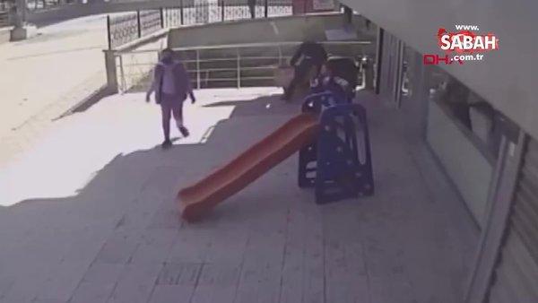Ankara'da facia son anda böyle önlendi! Bebek arabasını son anda yakaladı...
