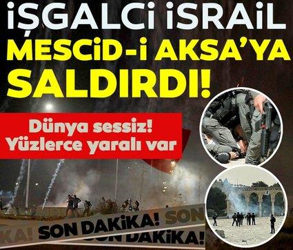 Son dakika haberi: İsrail polisi yeniden Mescid-i Aksa'daki cemaate saldırdı
