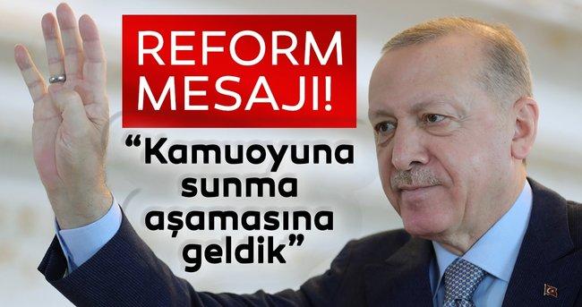 Başkan Erdoğan'dan son dakika ekonomi ve hukukta reform açıklamaları: Kamuoyuna sunma aşamasına geldi