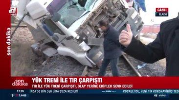 SON DAKİKA! Elazığ'da yük treni TIR'a çarptı... Olay yerinden canlı yayın   Video