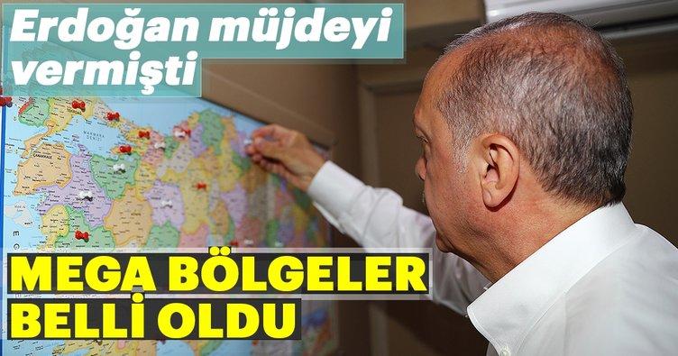 Erdoğan'ın müjdesini verdiği 'Mega Bölgeler' belli oldu