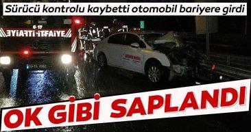 Bağcılar'da feci kaza; bariyerler otomobile ok gibi saplandı