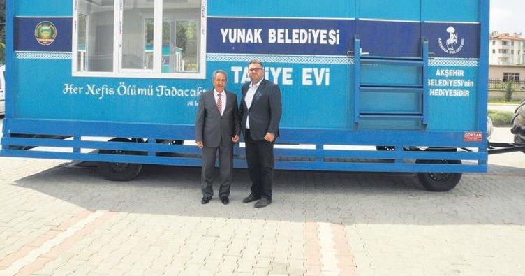 Akşehir'den kardeş ilçelere mobil taziye evi
