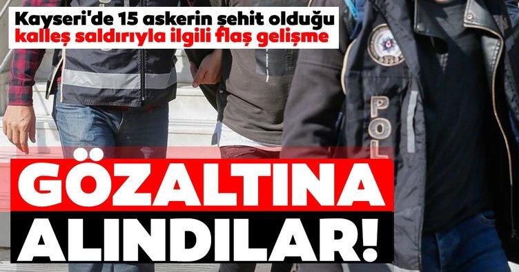 Kayseri'de 15 askerin şehit olduğu kalleş saldırıyla ilgili son dakika gelişmesi! 3 şüpheli gözaltında...