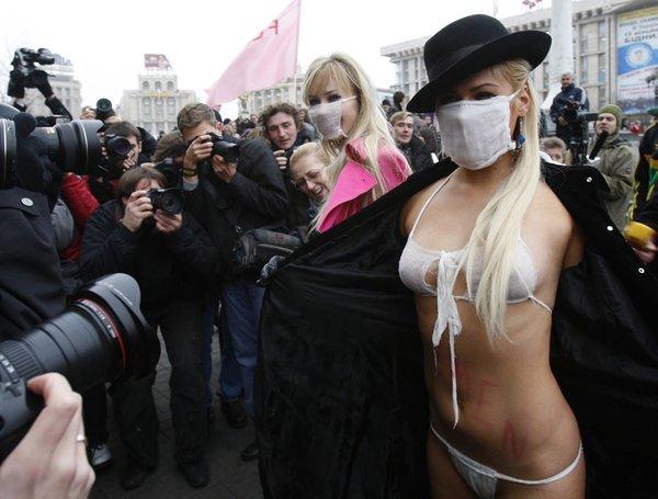 Ukrayna'da domuz gribi eylemi