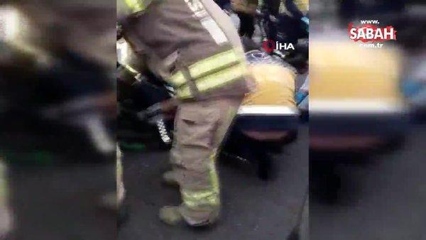 İstanbul Kadıköy'de araç içinde sıkışarak ağır yaralanan kadının kurtarılma anları kamerada | Video