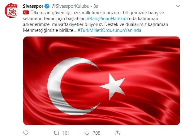 Futbol camiası, Barış Pınarı Harekatı için tek yürek oldu