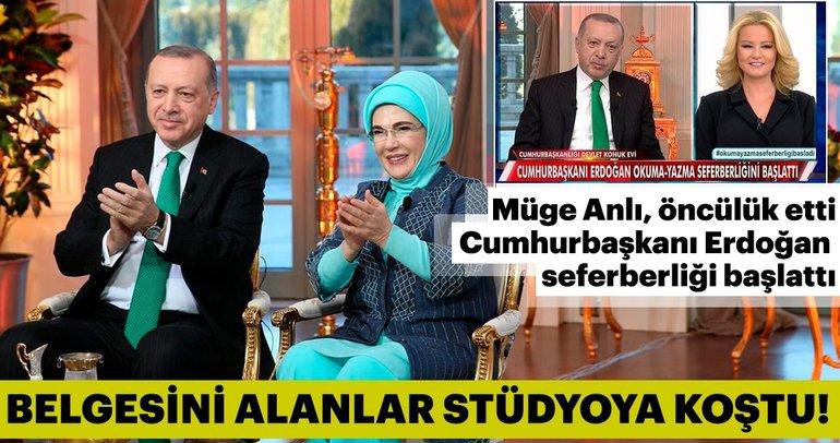 Türkiye'nin en anlamlı sosyal sorumluluk projesinde okur-yazarlık belgesi alanlar Müge Anlı stüdyosuna koştu!