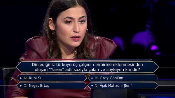 Milyoner yarışması: Dinlediğiniz türküyü üç çalgının birbirine eklenmesinden oluşan