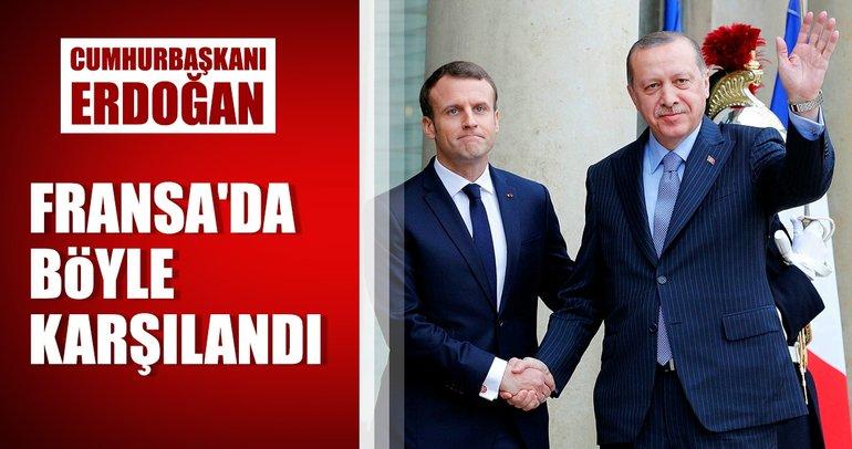 Cumhurbaşkanı Erdoğan, Elysee Sarayı'nda resmi törenle karşılandı