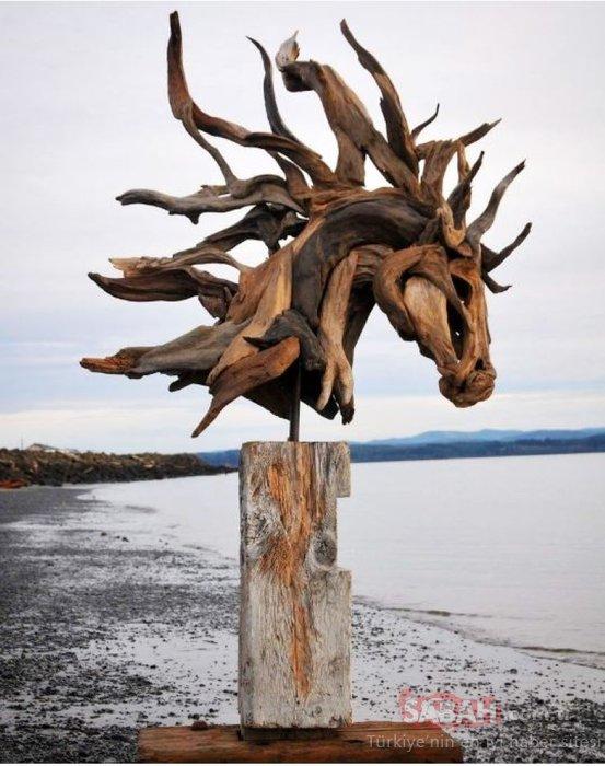 Sahilde buldukları ahşap parçalarından muhteşem eserler yaptılar!