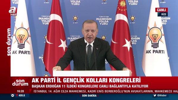 Cumhurbaşkanı Erdoğan'dan İl Gençlik Kolları 6. Olağan Kongreleri'nde önemli açıklamalar (12 Şubat 2021 Cuma)   Video
