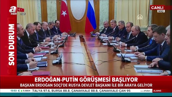 Cumhurbaşkanı Erdoğan ile Rusya Devlet Başkanı Putin arasındaki görüşme başladı