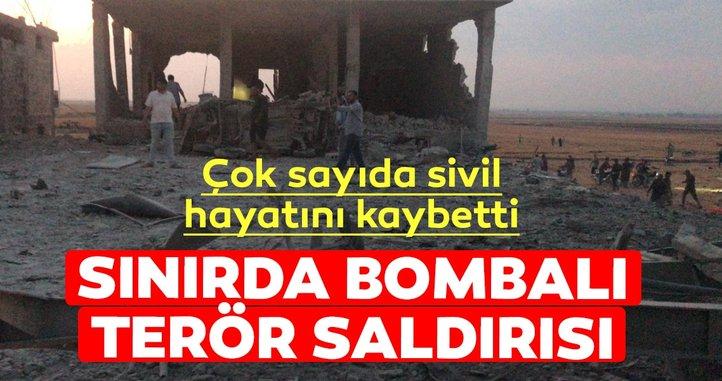 Son dakika: Türkiye-Suriye sınırında bulunan Çobanbey beldesinde bombalı saldırı