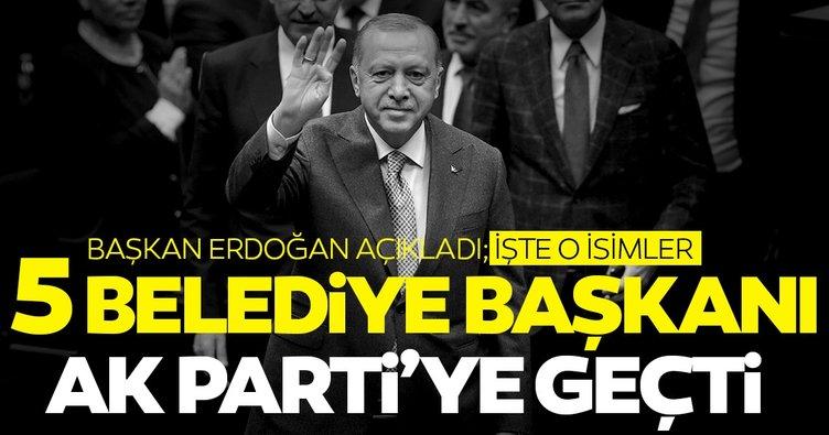 SON DAKİKA: 5 Belediye Başkanı AK Parti'ye geçti, rozetlerini Başkan Erdoğan bizzat taktı