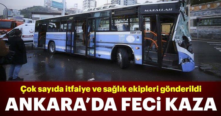 Son dakika: Ankara'da halk otobüsü yol temizleme aracına çarptı