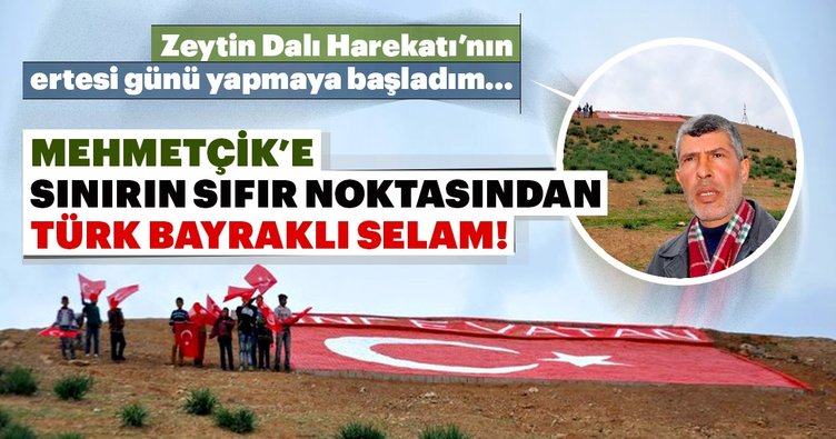 Mehmetçik'e sınırdan Türk bayraklı selam!