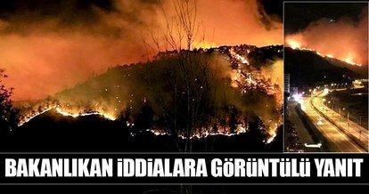 Orman yangını ile ilgili iddialara görüntülü yanıt