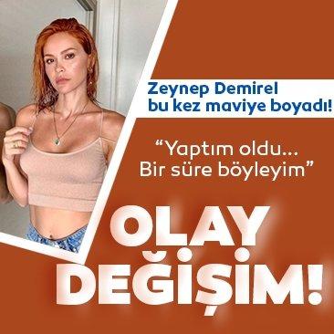 Volkan Demirel'in eşi Zeynep Sever Demirel olay değişimi ile sosyal medyayı salladı! Zeynep Demirel bu sefer de mavi saçlı oldu....