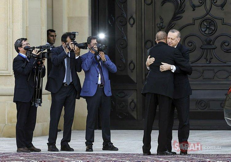 Başkan Erdoğan'a Azerbaycan'da sıcak karşılama