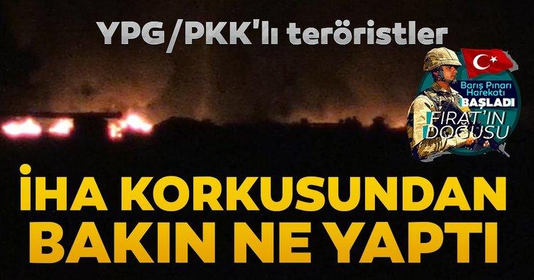 YPG/PKK'lı teröristler İHA korkusundan lastik yakıyorlar!