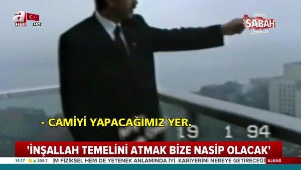 Cumhurbaşkanı Erdoğan, 24 yıl önce Taksim Camii'nin yapılacağı yeri böyle göstermiş!