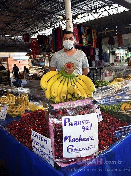 Muğla'da pazarcıdan Parasız gel maskesiz gelme çağrısı