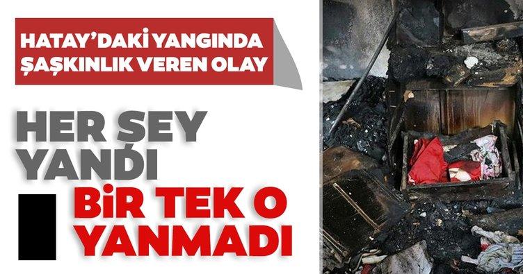 Tüm ev yandı bir tek o zarar görmedi Konduğu çekmece kül olurken Türk bayrağı zarar görmedi