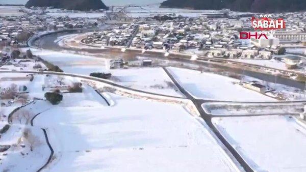 Kar esaretinin altında kalan Japonya drone ile görüntülendi | Video