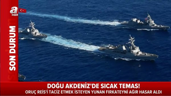Doğu Akdeniz'de Oruç Reis'i taciz etmek isteyen Yunan Limnos fırkateyni ağır hasar aldı   Video
